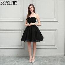 BEPEITHY Naujas atvykimas Vestido De Festa Longo V-kaklo mažos juodos suknelės A-Line Trumpos Prom Dresses Bridesmaid suknelės 2018