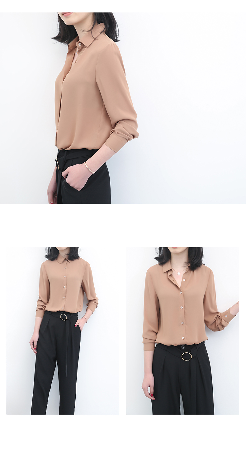 Women's Classic Shirt Chiffon Blouse Loose Long Sleeve Casual Shirts Lady Simple Style Tops 31