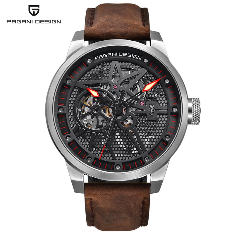 PAGANI DESIGN Fashion Brown Leather Men's Watch Skeleton Automatic Self-Wind Mechanical Wristwatches Business Relogio PD-1625 сумка hidesign business fleming 03 fleming 03 brown