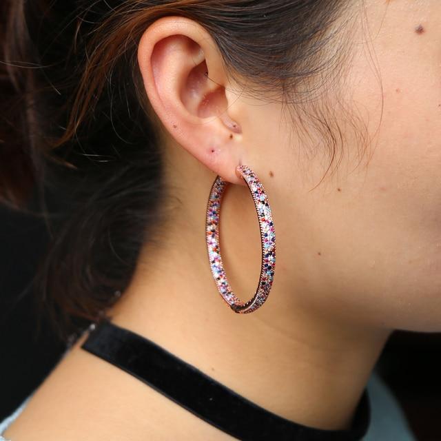 Фото женские серьги с радужным камнем большие разноцветные 50 мм