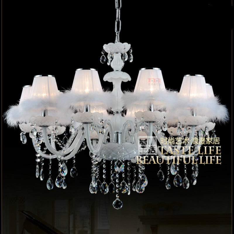 A1 European white candle pendent light white feather glass chandelier living room bedroom dining room hanging lights ZA421636