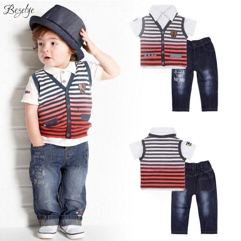3 PCS Spring Toddler Boys Clothing Striped Boys Summer Kids Clothes Sets Cotton Children Clothing Short Shirt+Vest+Jeans Pants