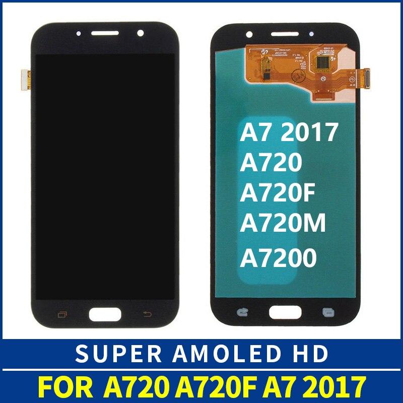 LCD Pour SAMSUNG GALAXY A7 2017 A720 A720F SM-A720F LCD Affichage à L'écran Tactile Digitizer Assemblée Remplacement Pour SAMSUNG A720 LCD