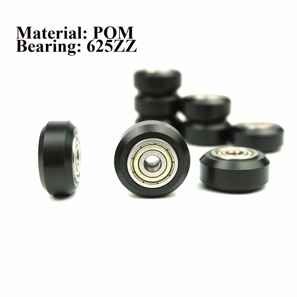 5Pcs/Slot CNC Wheel Pulleys Ball Bearing V Type CNC Wheel Bearing 3D Printer Parts Round Gear Perlin Part For 3D Ender-3 Parts
