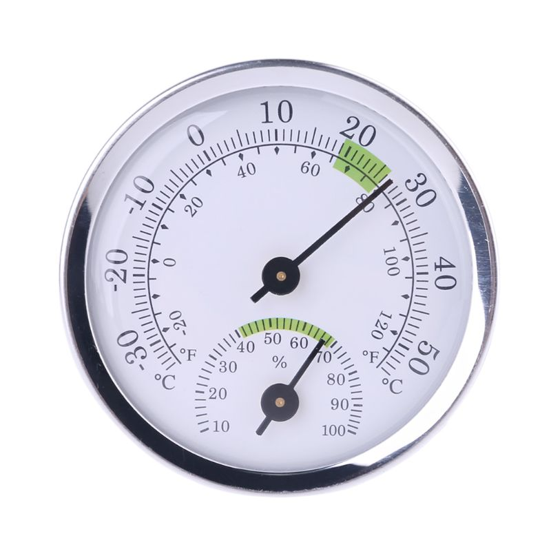 Household Wall Mounted Analog Temperature Humidity Meter Alloy Aluminum Thermometer Hygrometer -30-50C