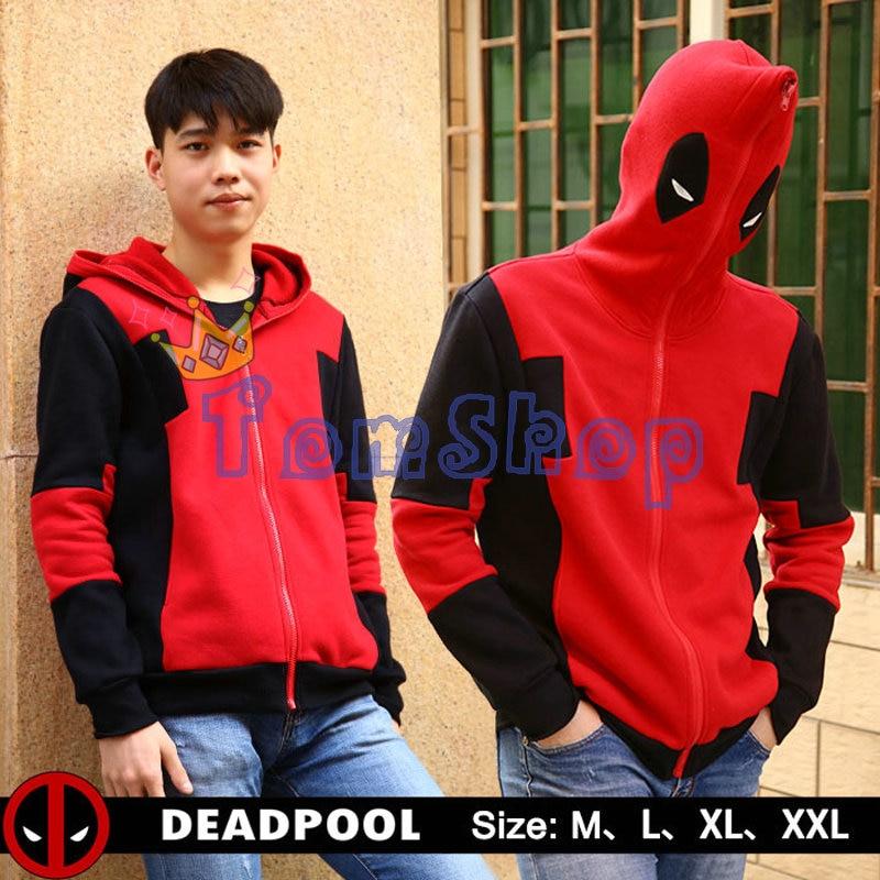Deadpool Cosplay Hoodies Sweatshirt Marvel Comic Hooded Men Jacket Coat Zipper Sweat Shirts