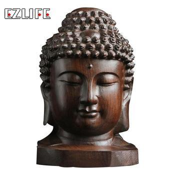 6cm Buddha Statue Wood Wooden Sakyamuni Tathagata Figurine Mahogany India Buddha Head Statue Crafts Decorative Drop Shipping