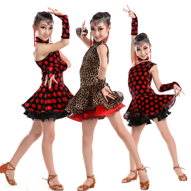 Sexy Girls Latin Dancewear Dress Ballroom Stage Wear Modern Dancing Outfits Kids Latin Performance Dance Costumes
