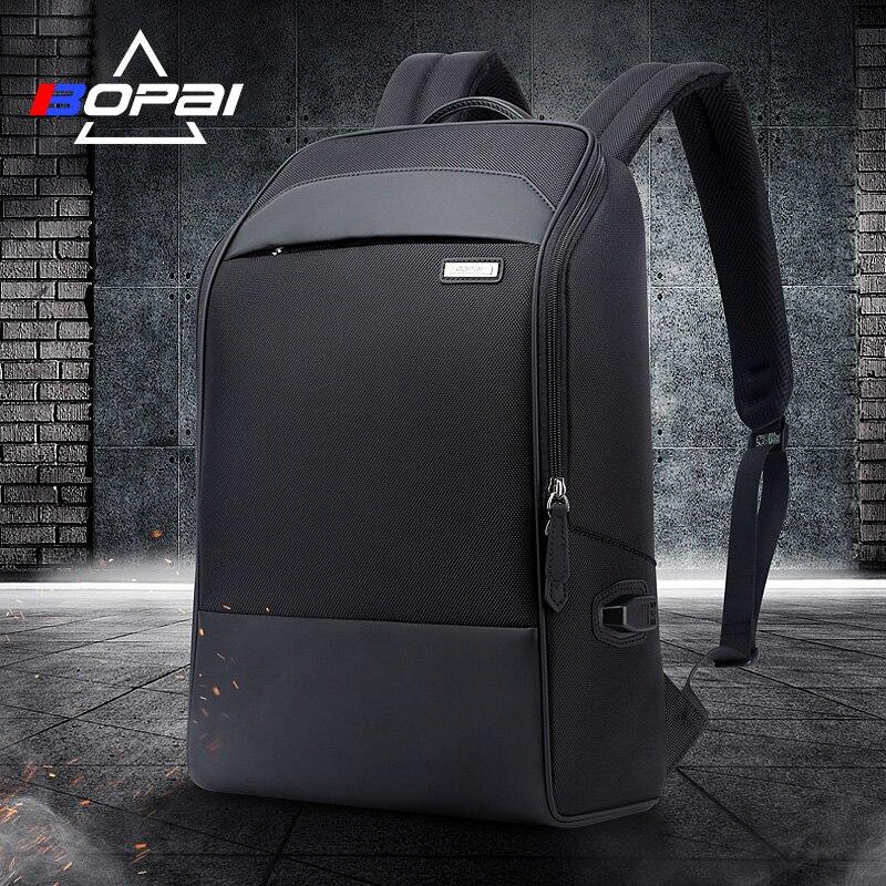 BOPAI Waterproof Schoolbag Backpacks Black USB Charging Laptop Busines Men Backpack Casual Travel Bags Male Travelling