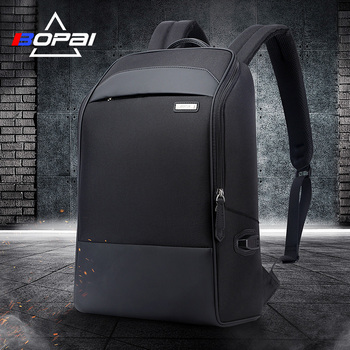 BOPAI Waterproof Schoolbag Backpacks Black USB Charging Laptop Busines Men Backpack Casual Travel Bags Male Travelling Rugzak