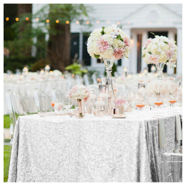 48x72in Glitter Silver Sequin Table Cloth 125x180cm Sparkly Silver  Tablecloth For Wedding Events