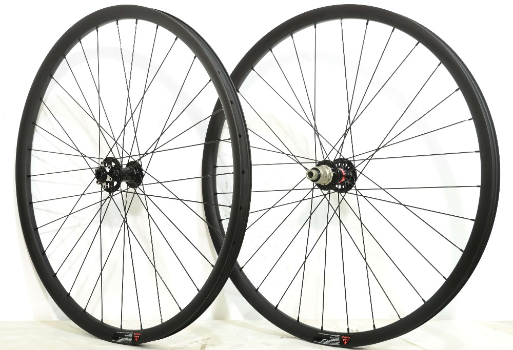 Asymmetric 27.5ER 27mm Width 23mm depth super light MTB Carbon Wheels Mountain bike XC Hookless carbon wheelset with boost hub oem mtb wheelset 29er mtb wheelset mountain bike 27mm width carbon wheel hookless mtb wheels with novatec hub