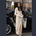 Kate Middleton High Slit Long Sleeve Celebrity Red Carpet  Evening Dresses Elegant Formal Party Gown robe de soiree