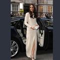 Kate Middleton alta hendidura de manga larga celebridad de la alfombra roja vestidos noche Formal elegante vestido del partido robe de soirée