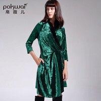 POKWAI 2017 Autumn New Vintage Draped Dress Women Fashion High Quality Wrist Sleeve V Neck Fox Hair Collar Asymmetrical Dresses