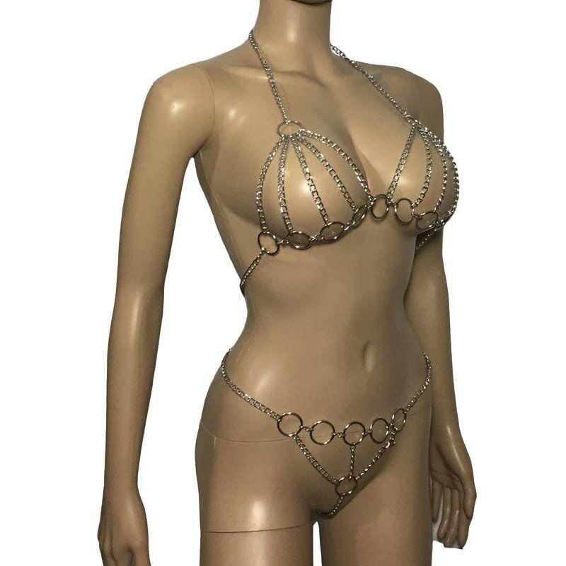 Sexy Woman Metal Chained Body Harness Open Breast Halter Bra Top With Open Crotch Thong  Bikini Lingerie Set Fetish Costume