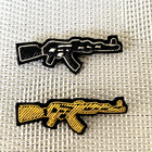 Quality fashion badges Retro gun pin badge Handmade embroidery metal badge Hat and clothes bag badges for backpack
