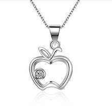 Everoyal Trendy Zircon Apple Pendant Necklace For Women Jewelry Fashion 925 Sterling Silver Necklace Girls Princess Choker Bijou everoyal trendy silver 925 sterling necklace for girls accessories fashion zircon round pendant necklace for women jewelry gift