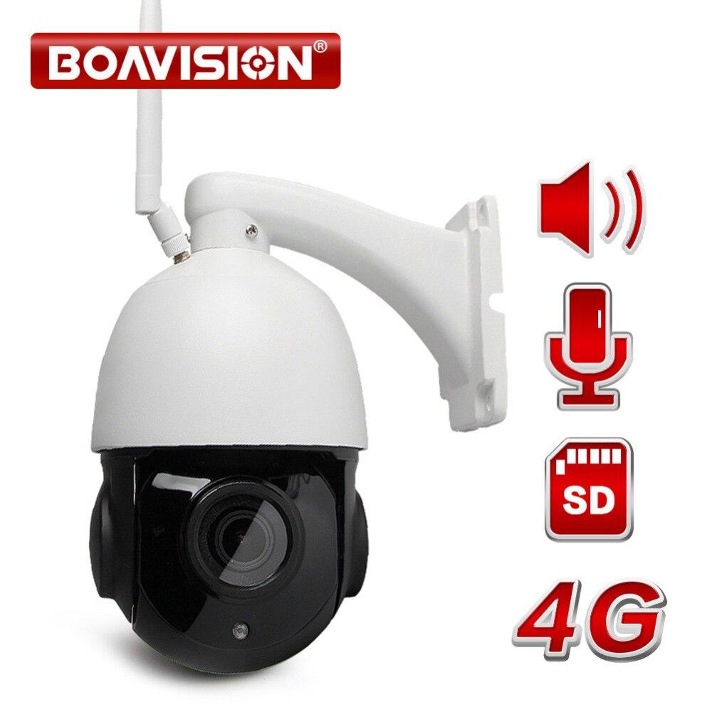 1080 p 3g 4g WIFI Speed Dome PTZ IP Camera Wi-Fi Esterno A Due Vie Audio Altoparlante 4X 18X zoom ottico CCTV Macchina Fotografica SIM Card SD Card