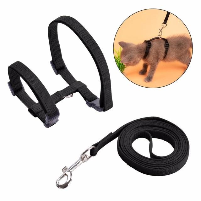 Set of Adjustable Cat Harness Leash H Shape Nylon Strap Collar Belt