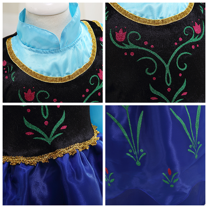 Girls Dress Summer COS costume princess Dress for Kids dress for girls Party  dress with cape Dress Costumes Cosplay 5