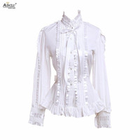 Ainclu XS XXL Hot Selling Womens Cotton White With Ruffles/bow Lolita Blouse for Spring/Summer/Autumn/Winter for Casual/party