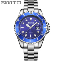 GIMTO Luxury Brand Men S Quartz Watch Stainless Steel Large Dial Male S Casual Wrist Watches