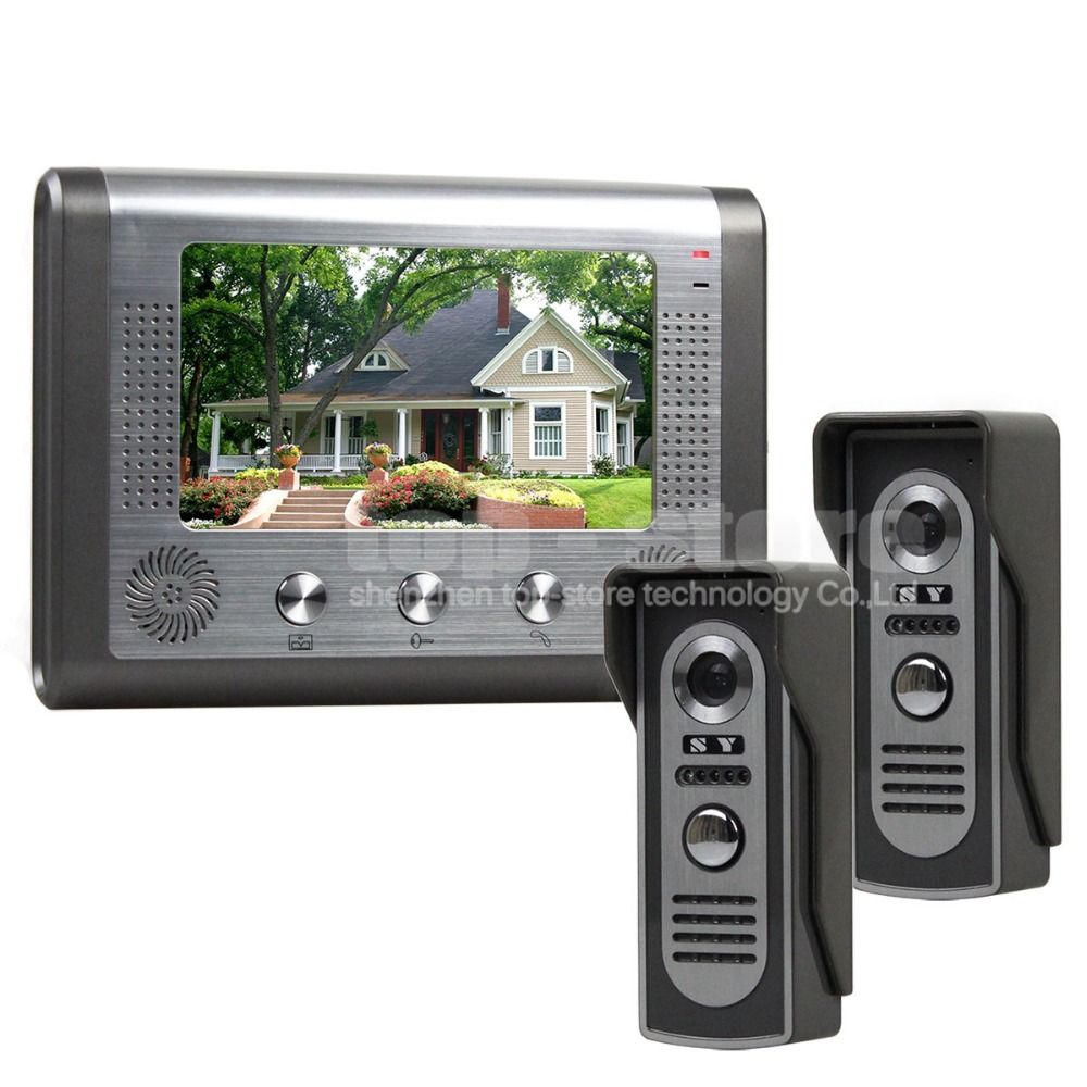 DIYSECUR 1 Monitor 2 Cameras Wired Video Door Phone System Home Security Entry 2 Way Intercom IR Cameras SY801M21