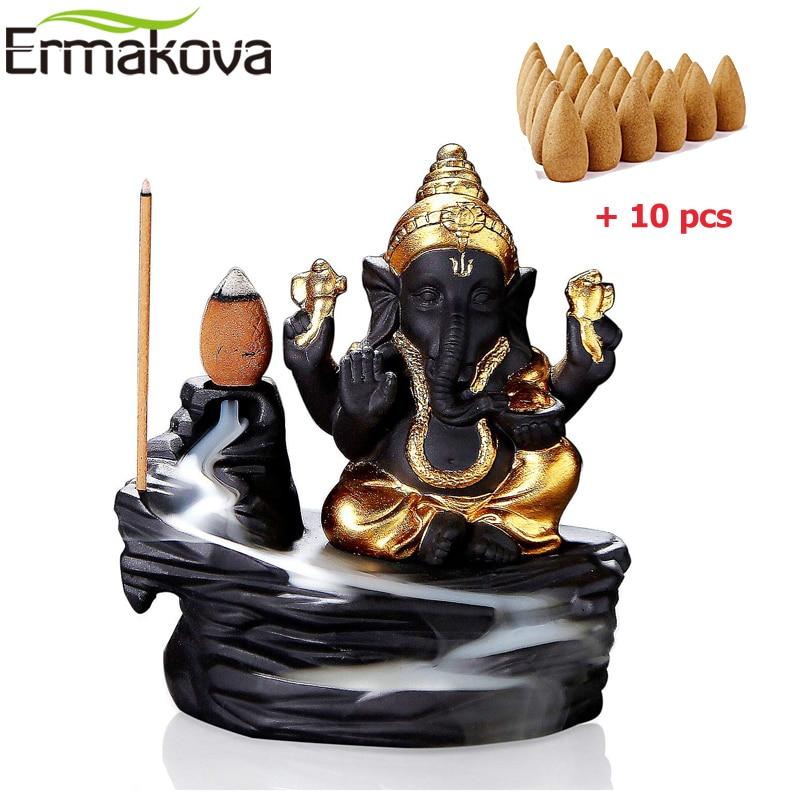 ERMAKOVA Backflow Incense Burner Censer Incense Cones Burner Holder Ganesha Elephant God Figurine Home Yoga Studio Decoration figurine