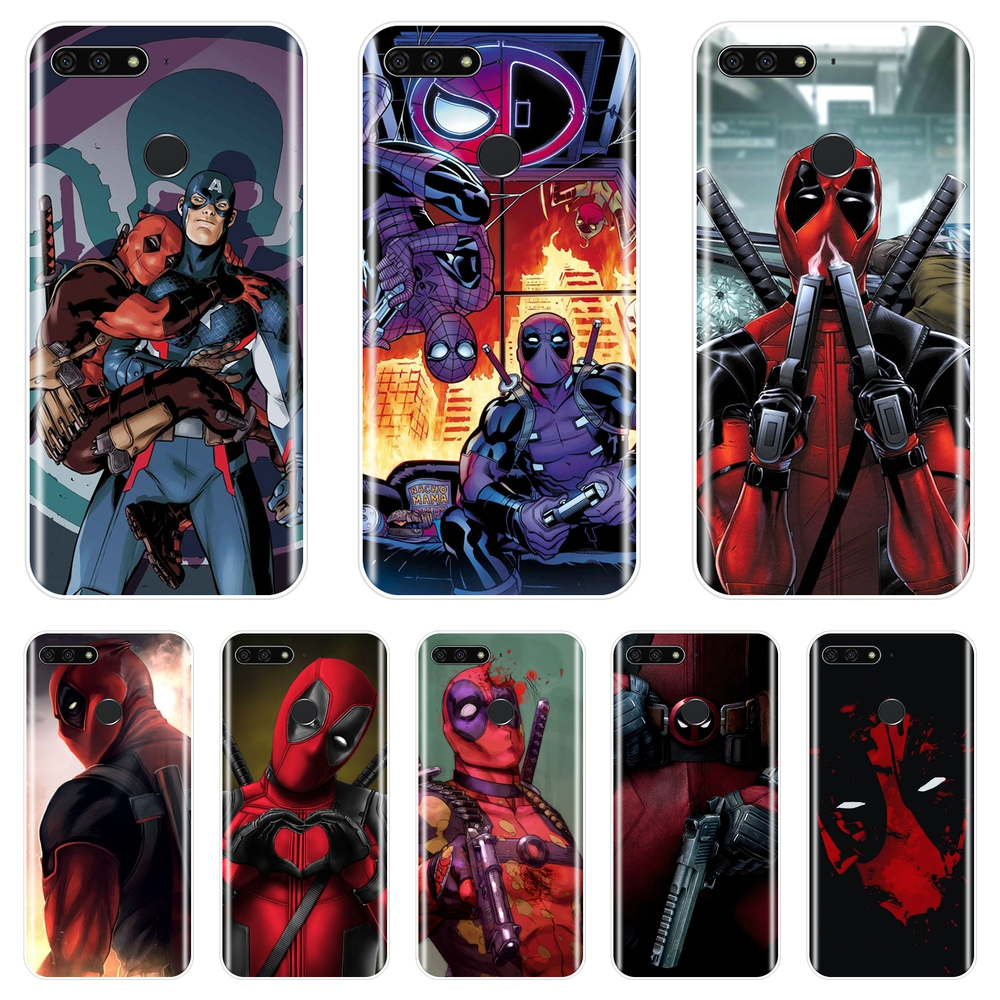 Cool Deadpool Silicone Phone <font><b>Case</b></font> For <font><b>Huawei</b></font> Y3 Y5 Y6 II <font><b>Y7</b></font> 2017 Pro Soft Back Cover For <font><b>Huawei</b></font> Y5 Y6 <font><b>Y7</b></font> Prime 2018 Y9 <font><b>2019</b></font> <font><b>Case</b></font> image