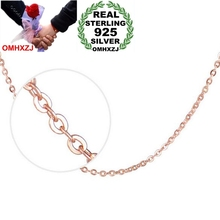 OMHXZJ Wholesale Fashion simple Woman 18 inch 1.5mm Platinum 925 Sterling Silver Rose gold O word Short Chains Necklaces NK10