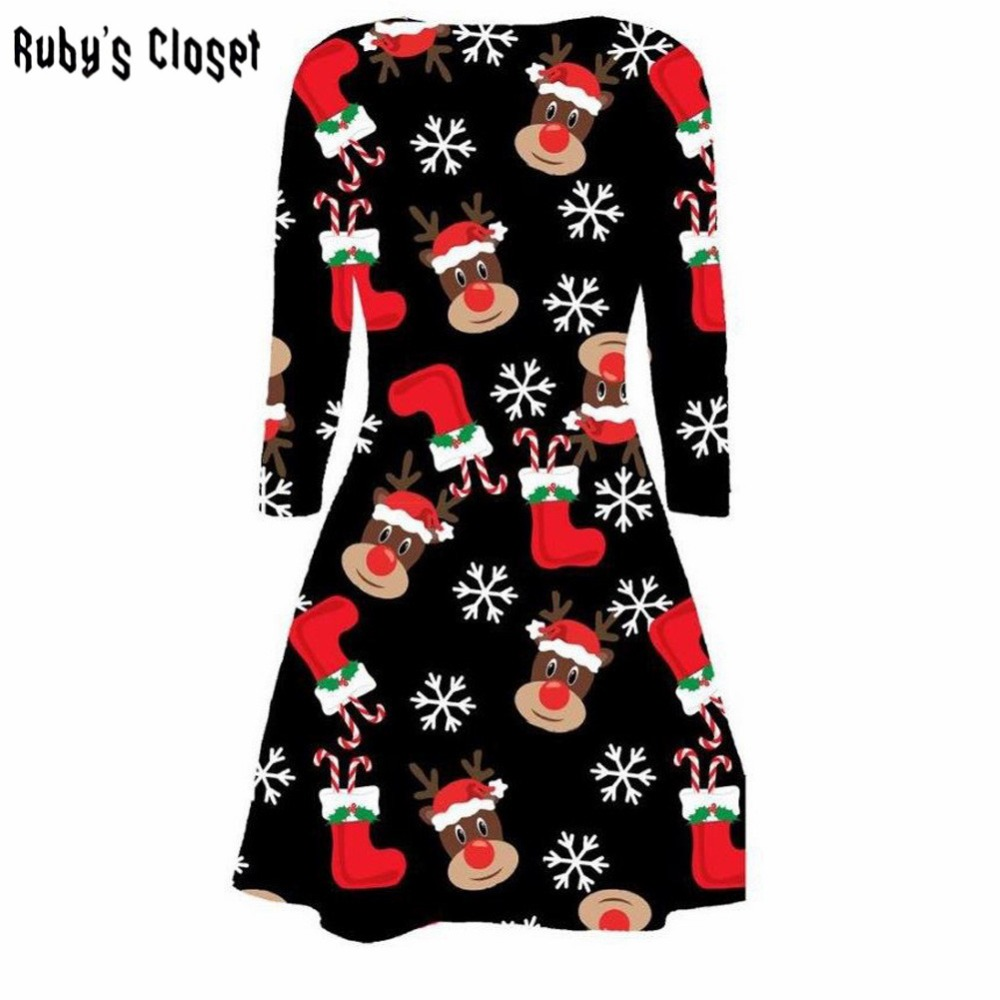 Christmas dress casual - Christmas Pleated Autumn Women Dress Cute Deer Printing O Neck Long Sleeves Sexy Casual Vestidos Party Robe Dresses Sn S3112