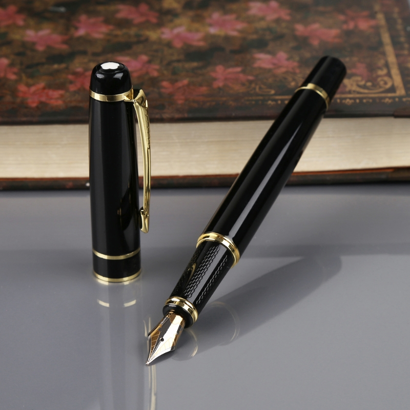 цена Hero 1501 Black With Golden Trim Standard F Nib Fountain Pen Gift dropshipping