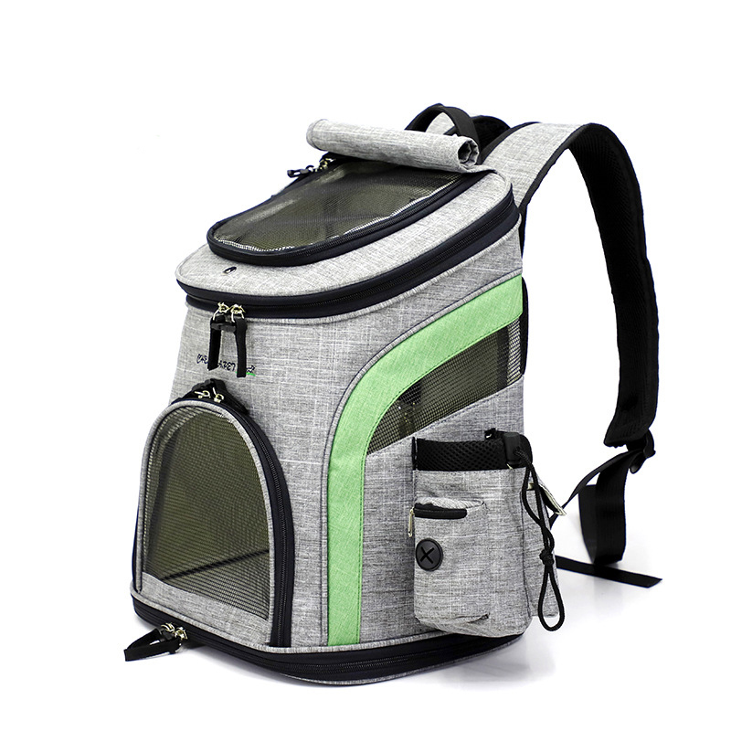 Linen Cotton Pets Cat Backpack Small Dog Puppy Carrier Bag Box Breathable Cat Backpack Double Shoulder Portable Outdoor Pet Cage