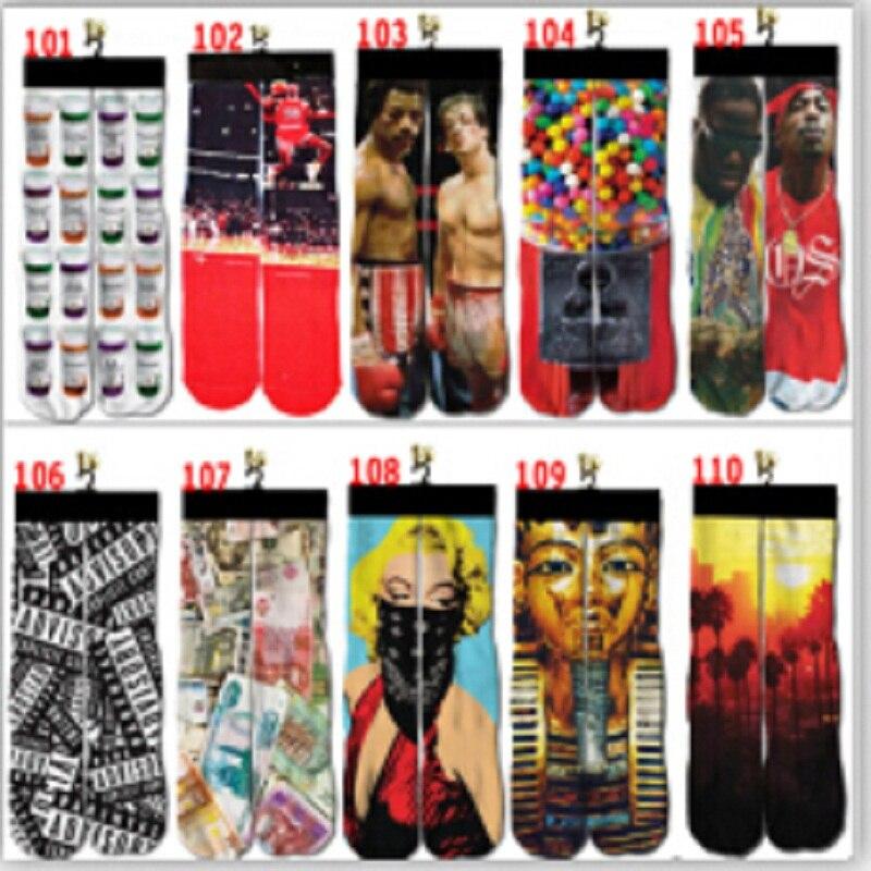 2018 New Limited Cotton Casual Men Socks Popular 3d Printer Odd Wink Bottom Thick Towel Socks Wholesale Mens Skateboard