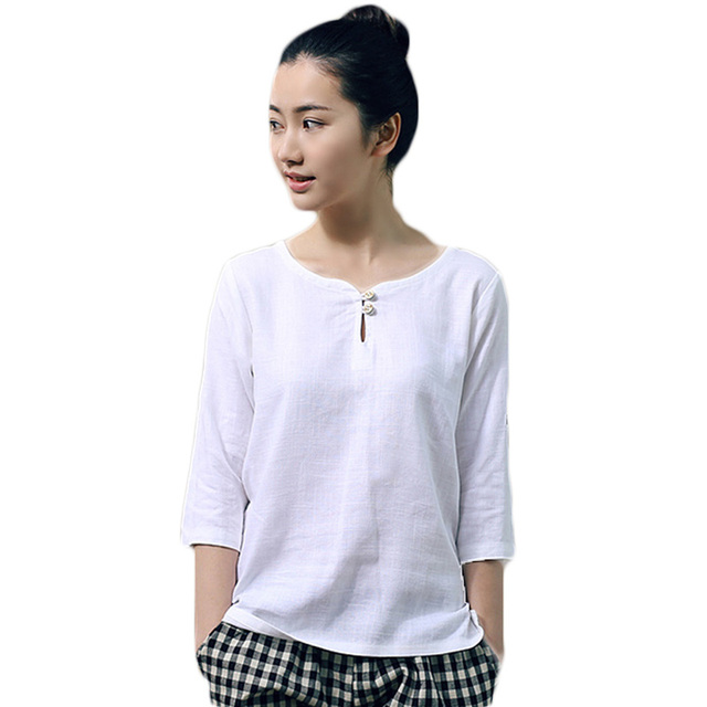 New Japanese Style Elegant Ladies OL Linen Blouses.  White With Three Quarter Sleeve