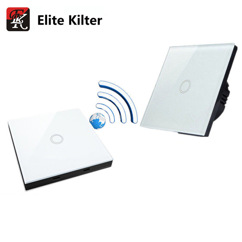 Elite Kilter Luxury Crystal Glass Wall Switch Touch Switch Normal 1 Gang With 1 Gang Stick Touch Switch EU/UK Standard elite kilter touch switch 1 gang 1 way eu uk standard crystal glass switch panel smart touch wall light switch ac 170v 240v