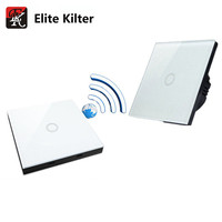 Elite Kilter Luxury Crystal Glass Wall Switch Touch Switch Normal 1 Gang With 1 Gang Stick Touch Switch EU/UK Standard