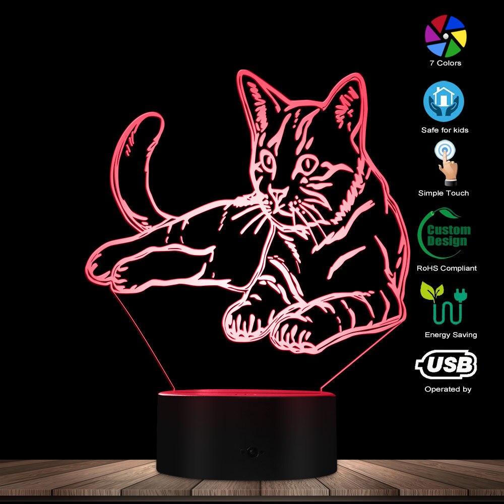 Kitty Cat Creative Night Lamp Cat Nursery Lamp Sweet Multicolored LED Illusion Light Baby Night Light 3D Kitten Lighting Decor