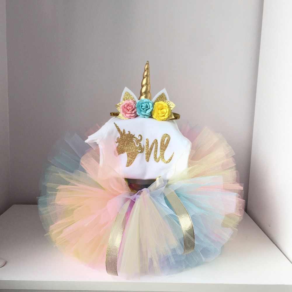 My Princess Unicorn Dress For Girls 1 Year Girl Baby Birthday Cake Smash Outfits