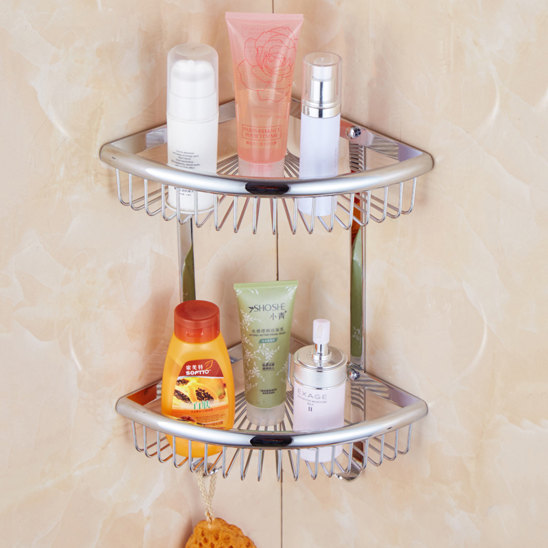 Free Shipping golden Brass corner Bathroom Shelves 2 Tier Bathroom ...