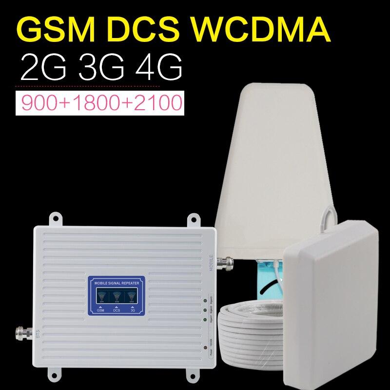 Ancienne Version amplificateur 70dB GSM WCDMA DCS LTE Tri bande amplificateur de Signal de téléphone portable 2g 3g 4g répéteur de Signal LTE antenne Cellualr
