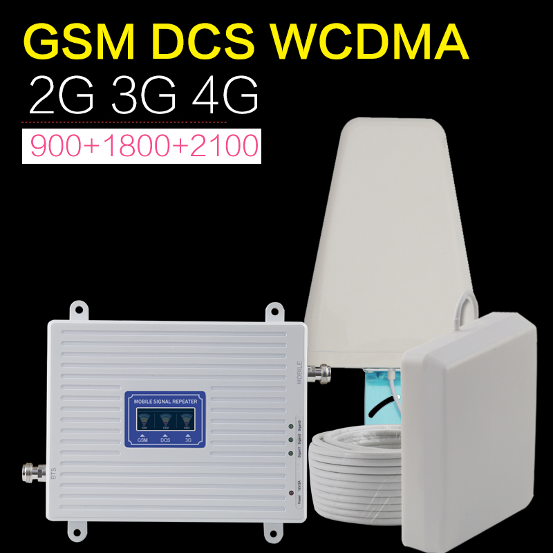 GSM 2g 3g 4g Amplifier 70dB WCDMA DCS LTE Tri Band Mobile Phone Signal Booster Repeater Cellualr Antenna