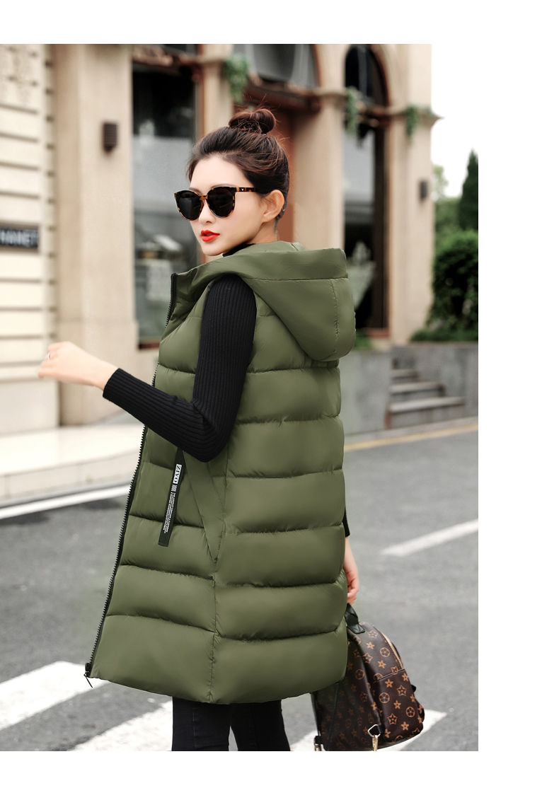 Autumn Winter Women Waistcoat Sleeveless Vest Jacket Hooded Warm Long 36