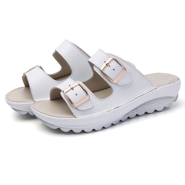 ASDS Fashion Summer Women Shoes Casual Sandals Genuine Cow Leather Sandals Beach Slipper Peep Toe Sandals Platform Cute Soft C phyanic 2017 gladiator sandals gold silver shoes woman summer platform wedges glitters creepers casual women shoes phy3323