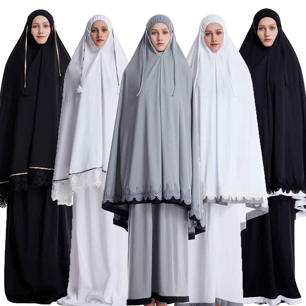 Ramadan Women 2 Piece Muslim Prayer Set Khimar Abaya Overhead Hijab+Skirt Full Cover Islam Clothing Middle East Worship Service