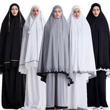 Ramadan ผู้หญิง 2 ชิ้นมุสลิมชุด Khimar Abaya Overhead Hijab + กระโปรงเต็มรูปแบบอิสลามเสื้อผ้าตะวันออกกลางนมัสการบริการ
