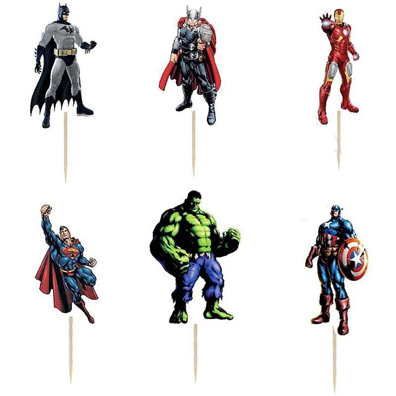 Tremendous 24Pcs Happy Birthday Cake Toppers Picks The Avengers Superhero Funny Birthday Cards Online Necthendildamsfinfo