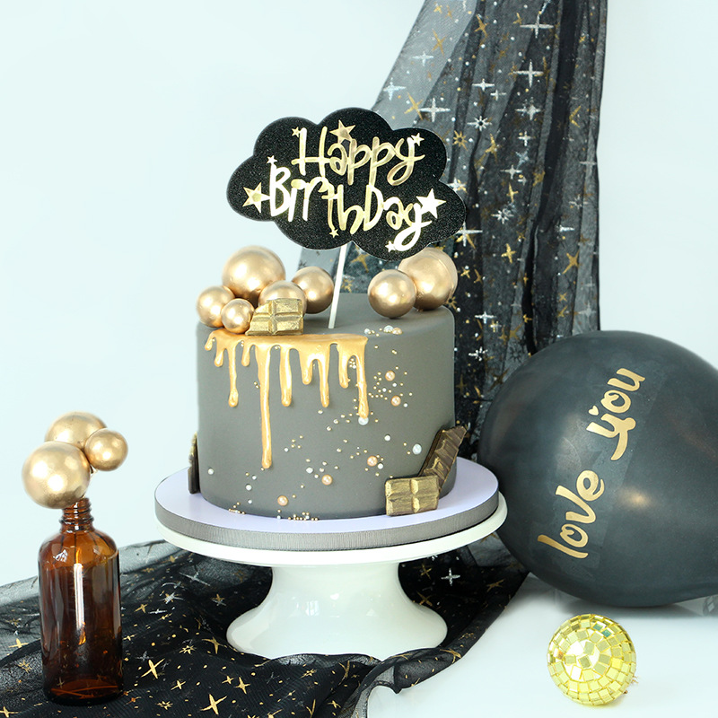 Cool Gold Star Happy Birthday Cupcake Topper Cloud Black Paper Cake Funny Birthday Cards Online Ioscodamsfinfo