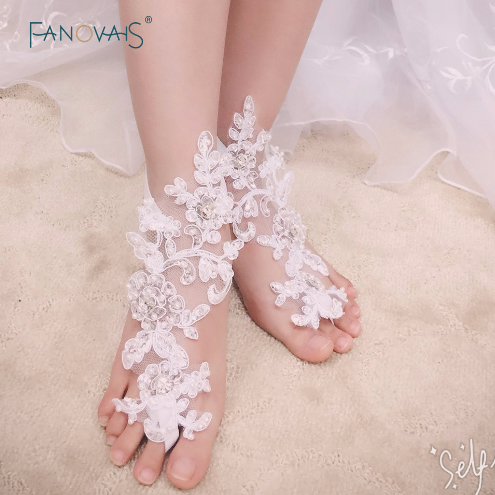 1 Pairs Lace Barefoot Sandals Beach Pool Wear Anklet Bridal Gloves Foot Jewelry Victorian Lace Yoga Shoes Bridal Gloves ALF02